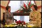 Mrs. Laura Bush speaks with Mrs. Sehba Musharraf, wife of President Pervez Musharraf, during their meeting at Aiwan-e-Sadr, Saturday, March 4, 2006 in Islamabad, Pakistan. White House photo by Shealah Craighead