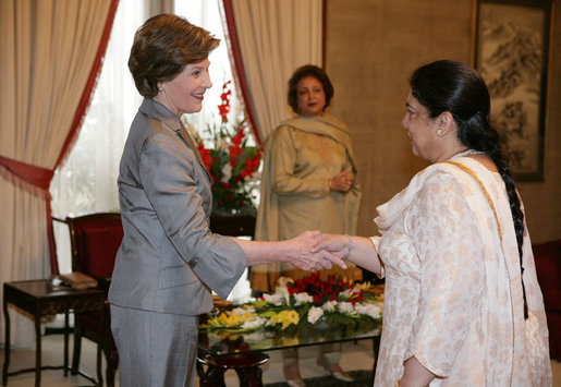 Mrs. Laura Bush greets guests during her meeting with Mrs. Sehba Musharraf, wife of President Pervez Musharraf, at Aiwan-e-Sadr, Saturday, March 4, 2006 in Islamabad, Pakistan. White House photo by Shealah Craighead