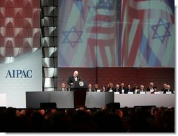 Vice President Dick Cheney addresses the American Israel Public Affairs Committee (AIPAC) 2006 Annual Policy Conference in Washington, Tuesday, March 7, 2006. During his remarks the vice president commented on the unwavering allied relationship between the US and Israel in the global war on terror and discussed the development of democracy and need for security throughout the Middle East.  White House photo by David Bohrer