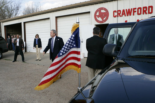 President George W. Bush leaves the Crawford Fire Station after voting in the Texas primary in Crawford, Texas, Tuesday, March 7, 2006. White House photo by Eric Draper