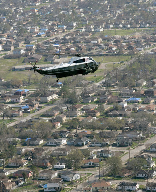 President George W. Bush in Marine One takes an aerial tour to view of the hurricane ravaged neighborhoods of New Orleans and their recovery progress, Wednesday, March 8, 2006. The President also took a walking tour in the lower 9th Ward of the city and inspected the reconstruction of a levee. White House photo by Eric Draper