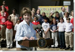 Mrs. Laura Bush addresses a crowd at the College Park Elementary School in Gautier, Miss., Wednesday, March 8, 2006, announcing the establishment of The Gulf Coast School Library Recovery Initiative, to help Gulf Coast schools that were damaged by the hurricanes rebuild their book and material collections. The initiative was established by the Laura Bush Foundation for American Libraries. White House photo by Eric Draper