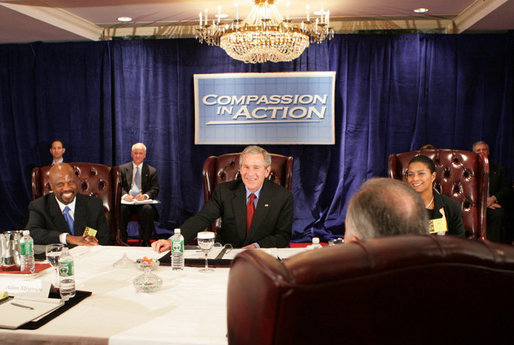 President George W. Bush meets with philanthropic leaders and social service providers, Thursday, March 9, 2006 at The White House National Conference on Faith-Based and Community Initiatives at the Washington Hilton Hotel. President Bush talked about the important philanthropic role individual volunteers, corporations and foundataions play in providing funding for social services, and the funding challenges faced by faith-based and community organizations. White House photo by Kimberlee Hewitt