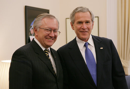 President George W. Bush meets with Ukrainian Foreign Minister Borys Tarasyuk, Friday, March 10, 2006 at the Eisenhower Executive Office Building in Washington. White House photo by Paul Morse
