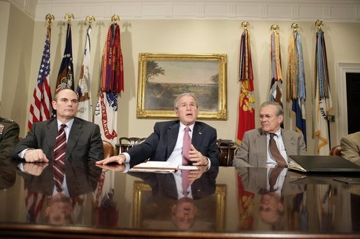 President George W. Bush speaks to the press after participating in a briefing by the Joint Improvised Explosive Device Defeat Task Force in the Roosevelt Room of the White House on Saturday March 11, 2006. White House photo by Paul Morse