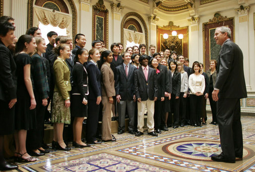 President George W. Bush speaks to finalists of the Intel Science Talent Search during their visit Monday, March 13, 2006, to the Eisenhower Executive Office Building. The finalists range in age from 16 to 18 and come from 35 schools in 19 states. White House photo by Paul Morse