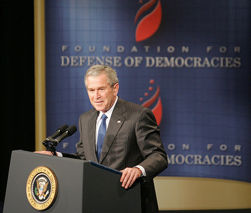 President George W. Bush addresses his remarks on the global war on terror, Monday, March 13, 2006 , before members and guests of the Foundation for the Defense of Democracies at the Dorothy Betts Marvin Theatre at George Washington University in Washington. White House photo by Paul Morse