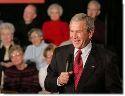 President George W. Bush speaks with an audience about the Medicare Prescription Drug Benefit Program on a visit to the Riderwood Villiage retirement community, Wednesday, March 15, 2006 in Silver Spring, Md. President Bush urged seniors to get information about the new Medicare benefit program and sign up by the May 15th deadline. White House photo by Paul Morse