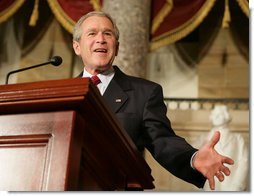 President George W. Bush speaks Wednesday evening, March 15, 2006 at the United State Capitol in Washington, in remembrance of the 50th Anniversary of the Hungarian revolution, during a celebration of Hungarian contributions to Democracy. White House photo by Kimberlee Hewitt