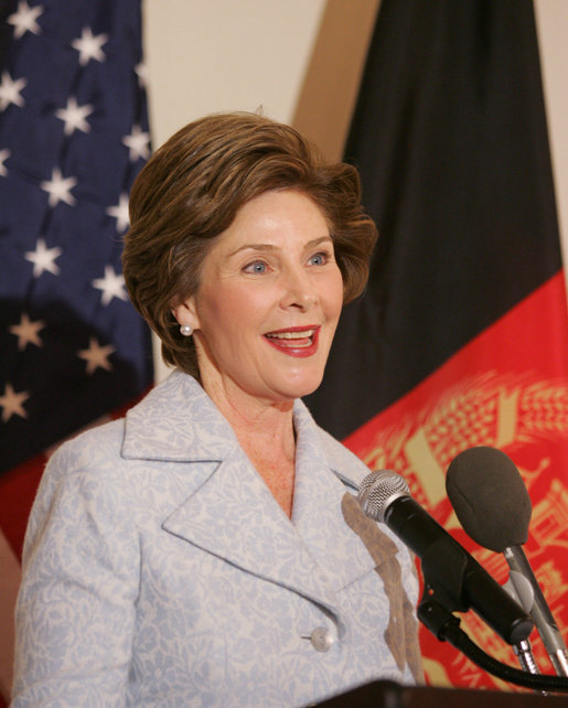Mrs. Laura Bush delivers remarks to guests attending the Afghan Children's Initiative Benefit Dinner at the Afghanistan Embassy in Washington, DC on Thursday evening, March 16, 2006. White House photo by Shealah Craighead