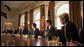 "President George W. Bush meets with members of Congress Thursday, March 16, 2006, in the Cabinet Room of the White House. The President thanked the attendees and singled out Sen. John Kerry (D-Mass.) saying, ""I can remember on the campaign trail, he said that he supported a line-item veto, and he is following through on his word by being here at the table."" White House photo by Paul Morse"