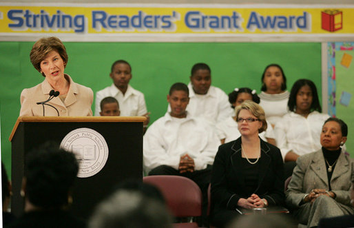 Mrs. Laura Bush addresses an audience at the Avon Avenue Elementary School, Thursday, March 16, 2006 in Newark, N.J., where Mrs. Bush announced a Striving Readers grant to Newark Public Schools. The grant will be used to support programs to improve students reading skills. White House photo by Shealah Craighead