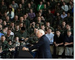 Vice President Dick Cheney addresses troops and families of the 437th Airlift Wing and 315th Reserve Airlift Wing at Charleston Air Force Base in Charleston, South Carolina, Friday, March 17, 2006. The vice president expressed his appreciation for their service in airlifting troops and equipment, supporting US embassies, airdropping troops into hostile areas, and providing humanitarian relief in the global war on terror.  White House photo by David Bohrer