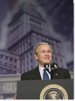 President George W. Bush addresses his remarks on the global war on terror at the Renaissance Cleveland Hotel in Cleveland, Ohio, Monday, March 20, 2006, to members of the City Club of Cleveland.  White House photo by Paul Morse