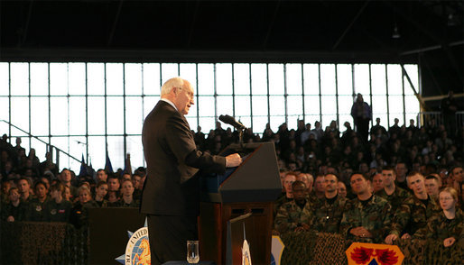 Vice President Dick Cheney participates in a rally with the troops at Scott Air Base, home of the US Transportation Command (USTRANSCOM), Tuesday, March 21, 2006. As the single manager of America's global defense transportation system, USTRANSCOM is tasked with the coordination of people and transportation assets that allows the US to project and sustain forces around the world. White House photo by David Bohrer