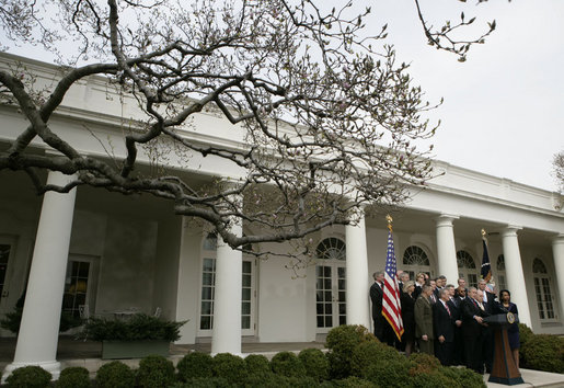 President George W. Bush and members of his Cabinet face the media Tuesday, March 28, 2006, in the Rose Garden of the White House. White House photo by Eric Draper