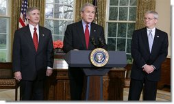 President George W. Bush announces the resignation of Secretary Andy Card as Chief of Staff Tuesday, March 28, 2006, and introduces Director Josh Bolten, Office of Management and Budget, as successor during a press conference in the Oval Office.  White House photo by David Bohrer