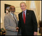 President George W. Bush meets with President-elect Rene Preval of Haiti at the White House, Tuesday, March 28, 2006 in Washington. White House photo by Kimberlee Hewitt