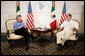 President George W. Bush meets with Mexican President Vicente Fox, Thursday, March 30, 2006, during their bilateral meeting in Cancun, Mexico. The meeting is part of a three-day summit with the leaders of Mexico and Canada. White House photo by Eric Draper