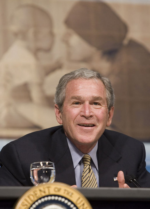 President George W. Bush speaks on Health Savings Accounts Wednesday, April 5, 2006, in Bridgeport, Conn. White House photo by Paul Morse