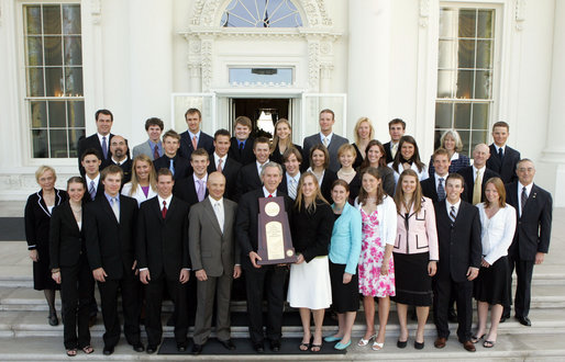 President George W. Bush stands with members of the University of Colorado Women's Ski Team Thursday, April 6, 2006, during a photo opportunity with the 2005 and 2006 NCAA Sports Champions. White House photo by Kimberlee Hewitt