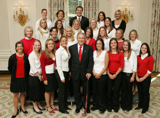 President George W. Bush stands with members of the University of Maryland Women's Field Hockey Team Thursday, April 6, 2006, during a photo opportunity with the 2005 and 2006 NCAA Sports Champions at the White House. White House photo by Kimberlee Hewitt