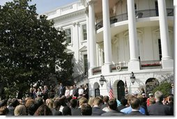 President George W. Bush congratulates 12 2005 and 2006 NCAA Championship teams during a South Lawn ceremony Thursday, April 6, 2006. White House photo by Kimberlee Hewitt