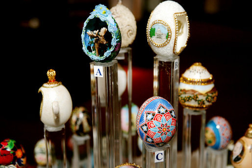Decorated eggs that are being presented at the White House Visitor Center in Washington, DC, Thursday, April 6, 2006, as part of the State Egg Display which exhibits a decorated egg from a select artist of each state. This tradition has been going on since 1994, and each year the artists vote amongst themselves to select the artist to create the following year's commemorative egg which is presented to the President and First Lady. White House photo by Shealah Craighead