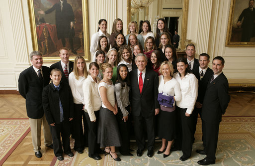 President George W. Bush stands with members of the University of Portland Women's Soccer Team Thursday, April 6, 2006, during a photo opportunity with the 2005 and 2006 NCAA Sports Champions. White House photo by Paul Morse