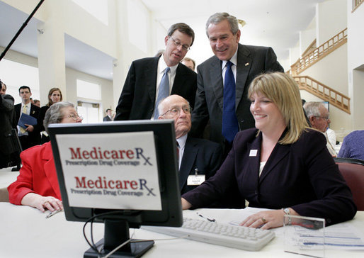 President George W. Bush visits with residents of the Lutheran Senior Services Community at the Heisinger Bluffs Senior Center in Jefferson City, Mo., Tuesday, April 11, 2006. President Bush visited Missouri's capital to discuss Medicare prescription drug benefits. White House photo by Eric Draper