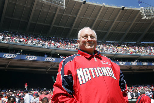 Vice President Dick Cheney takes to the field at RFK Memorial Stadium before throwing out the ceremonial first pitch at the Washington National's home opener, Tuesday, April 11, 2006. White House photo by David Bohrer