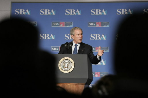 "President George W. Bush addresses the Small Business Week Conference in Washington, D.C., Thursday, April 13, 2006. ""Small businesses create two out of every three new jobs. And they account for nearly half of the country's overall employment,"" said the President in his remarks. White House photo by Paul Morse"