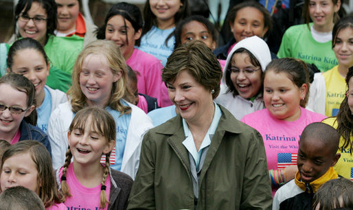Mrs. Laura Bush meets with the Katrina Kids, children from the Katrina ravaged areas of the Gulf Coast, during their visit to the White House to attend the 2006 White House Easter Egg Roll, Monday, April 17, 2006. White House photo by Shealah Craighead