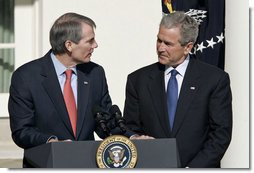 "President George W. Bush stands with Rob Portman, his nominee as Director of the Office of Management and Budget during an announcement in the Rose Garden Tuesday, April 18, 2006. ""The Office of Management and Budget is one of the most essential agencies of our government,"" said the President. ""The OMB has a central responsibility of implementing the full range of my administration's agenda, from defense programs that will keep our people secure, to energy initiatives that will break our dependence on oil, to tax policies that keep our economy growing and creating jobs. White House photo by Paul Morse"