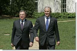 President George W. Bush and Prime Minister Fouad Siniora of Lebanon address the press on the South Lawn Tuesday, April 18, 2006. White House photo by Paul Morse