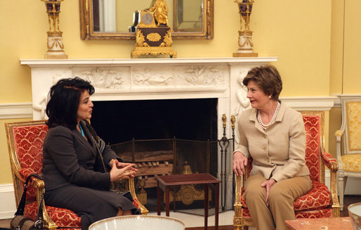 Mrs. Laura Bush visits with Mrs. Hoda Siniora, wife of Lebanon Prime Minister Fouad Siniora, during a tea in the Yellow Oval Room of the White House, Tuesday, April 18, 2006. White House photo by Shealah Craighead