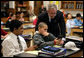 President George W. Bush visits with students at Parkland Magnet Middle School for Aerospace Technology in Rockville, Md., Tuesday, April 18, 2006. White House photo by Kimberlee Hewitt