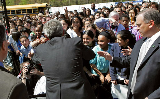 President George W. Bush greets a sea of students at Parkland Magnet Middle School for Aerospace Technology in Rockville, Md., Tuesday, April 18, 2006. White House photo by Kimberlee Hewitt