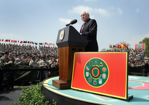 Vice President Dick Cheney delivers remarks during a rally for the troops at Fort Riley Army Base in Kansas, Tuesday, April 18, 2006. Many of the troops in attendance were part of the 3rd Brigade Combat Team who recently returned from Iraq. While deployed in Iraq, the 3rd Brigade Combat Team conducted more than 22,000 patrols, 200 raids, 1,300 cordon and search missions, 6,500 traffic control points, 1,500 convoy security operations and 4,100 supply route security missions. White House photo by David Bohrer