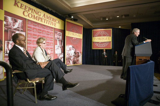 "Saying that he's honored to be ""at one of the finest institutions in the United States of America,"" President George W. Bush speaks to the audience Wednesday, April 19, 2006, at Tuskegee University in Tuskegee, Alabama about the American Competitiveness Initiative. White House photo by Paul Morse"