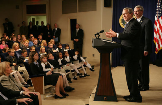 President George W. Bush speaks to the 2006 Recipients of the President's Environmental Youth Awards during a ceremony held in the Dwight D. Eisenhower Executive Office Building Thursday, April 20, 2006. Since 1971, the Environmental Protection Agency has sponsored the President's Environmental Youth Awards. The program recognizes young people across America for projects which demonstrate their commitment to the environment. Young people in all 50 states and the U.S. territories are invited to participate in the program. White House photo by Kimberlee Hewitt