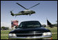 President George W. Bush aboard Marine One arrives at the Marine Corps Air Ground Combat Center in Twentynine Palms, California, Sunday, April 23, 2006. White House photo by Eric Draper