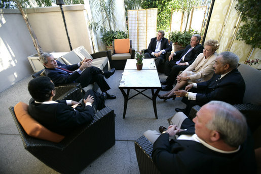President George W. Bush participates in a meeting with, from right, City of Los Angeles Mayor Antonio Villaraigosa, City of Anaheim Mayor Curt Pringle, Los Angeles County Board of Supervisors Dan Knabe, City of Long Beach Mayor Beverly O'Neil, City of Inglewood Mayor Roosevelt Dorn and City of San Diego Mayor Jerry Sanders, prior to dinner in Rancho Mirage, California, Sunday, April 23, 2006. White House photo by Eric Draper