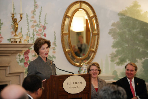 Mrs. Laura Bush speaks to an audience that includes 35 ambassadors representing countries with extreme adult/child illiteracy rates, Monday, April 24, 2006, during a luncheon celebrating the United Nations Educational, Scientific and Cultural Organizational (UNESCO), Education for All Week, at the Blair House in Washington, D.C. Education for All is an international effort coordinated by UNESCO to make the benefits of education accessible to all people. White House photo by Shealah Craighead