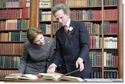 Mrs. Laura Bush tours the library of The Mount Estate and Gardens, home of author Edith Wharton, in Lenox, Mass., Monday, April 24, 2006, during a ceremony celebrating the acquisition and restoration of the library. The Mount was designed and built by Edith Wharton in 1902, and the library contains more than 2,600 volumes and titles.  White House photo by Shealah Craighead