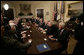 President George W. Bush meets with members of the U.S. Senate Tuesday, April 25, 2006, in the Roosevelt Room of the White House where he briefed them on Iraq and the global war on terror. White House photo by Eric Draper