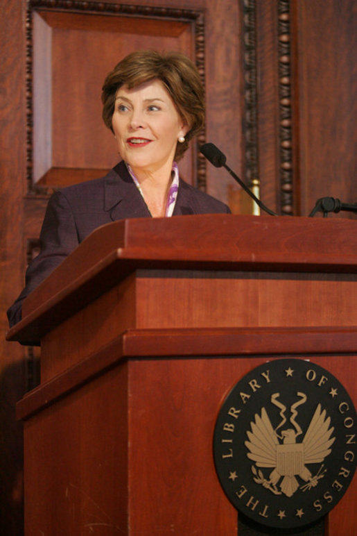 Mrs. Laura Bush addresses her remarks to guests attending the James Madison Council Luncheon Tuesday, April 26, 2006 at the Library of Congress in Washington, where she thanked the council for their support of the National Book Festival and the importance of the newly created Gulf Coast School Library Recovery Initiative. White House photo by Kimberlee Hewitt