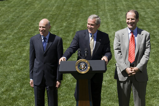 "Addressing the press, President George W. Bush stands with Ed Lazear of the Council of Economic Advisors, left, and Al Hubbard of the National Economic Council, in the Rose Garden Friday, April 28, 2006. ""I'm joined my two top White House economic advisors. The reason why is because we've had some very positive economic news today: the Commerce Department announced that our economy grew at an impressive 4.8 percent annual rate in the first quarter of this year. That's the fastest rate since 2003,"" said President Bush. ""This rapid growth is another sign that our economy is on a fast track."" White House photo by Eric Draper"