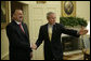 President George W. Bush welcomes President Ilham Aliyev of Azerbaijan to the Oval Office Friday, April 28, 2006. White House photo by Paul Morse