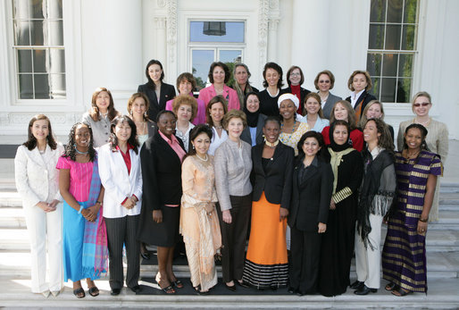Mrs. Laura Bush is joined by participants in the U.S. State Department's partnership with FORTUNE's Most Powerful Women mentoring program Monday, May 1, 2006 at the White House. The new program provides a significant opportunity for top U.S. women executives to mentor emerging women in businesses from around the world, allowing women from across the globe to spend a month working with mentors in the U.S. to enhance their management and business skills. White House photo by Kimberlee Hewitt